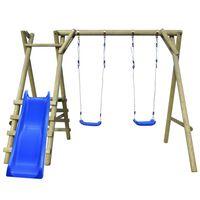 vidaXL Conjunto baloiço com escadas e escorrega 270x255x210 cm pinho