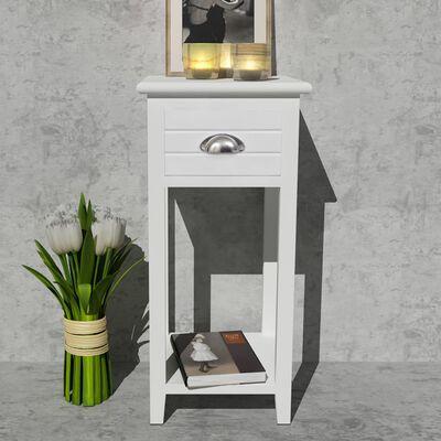 vidaXL Mesa de cabeceira com 1 gaveta, branco