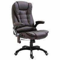 vidaXL Cadeira escritório c/ função massagem couro artificial castanho