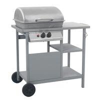 vidaXL Grelhador/BBQ gás mesa de apoio 3 prateleiras prateado
