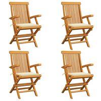 vidaXL Cadeiras de jardim c/ almofadões creme 4 pcs teca maciça