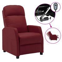 vidaXL Poltrona reclinável elétrica couro artificial vermelho tinto
