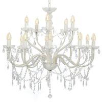 vidaXL Lustre com 2 andares branco 15 x lâmpadas E14