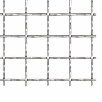 vidaXL Cerca de arame frisado aço inoxidável 100x85 cm 21x21x2,5 mm