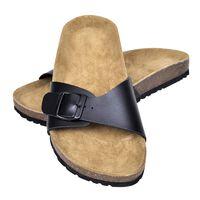 vidaXL Sandálias de cortiça Bio senhora 1 fivela tamanho 37 preto