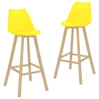 vidaXL Bar Stools 2 pcs Yellow PP and Solid Beech Wood