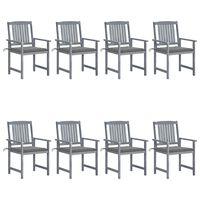 vidaXL Cadeiras de jardim c/ almofadões 8 pcs acácia maciça cinzento