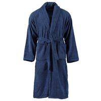 vidaXL Roupão turco unissexo 100% algodão tamanho L azul-marinho