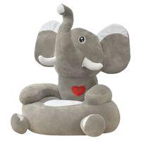 vidaXL Cadeira em pelúcia infantil, elefante, cinzento