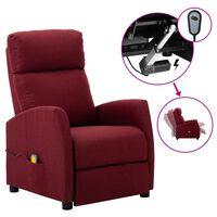 vidaXL Poltrona de massagens elétrica reclinável tecido vermelho tinto