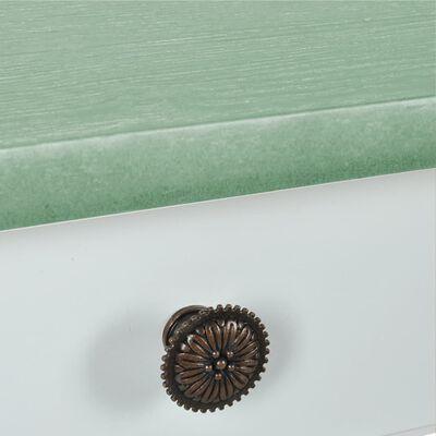 vidaXL Mesa consola MDF branco e verde-acinzentado