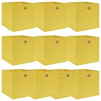 vidaXL Caixas de arrumação 10 pcs 32x32x32 cm tecido amarelo