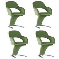 vidaXL Cadeiras de jantar 4 pcs veludo verde