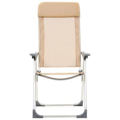 vidaXL Cadeiras de campismo dobráveis 2 pcs alumínio creme