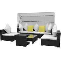 vidaXL 7 pcs conjunto de sofá para jardim com toldo vime PE preto