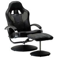 vidaXL Cadeira estilo corrida + apoio de pés couro artificial cinzento