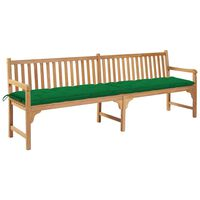 vidaXL Banco de jardim c/ almofadão verde 240 cm teca maciça