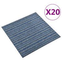 vidaXL Ladrilhos carpete p/ pisos 20 pcs 5 m² 50x50 cm riscas azul