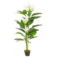 vidaXL Planta antúrio artificial com vaso 155 cm branco
