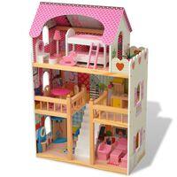 vidaXL Casa de bonecas com três pisos, madeira, 60x30x90 cm