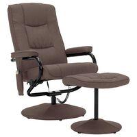 vidaXL Cadeira massagens reclinável c/ apoio pés tecido castanho