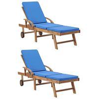 vidaXL Espreguiçadeiras c/ almofadões 2 pcs madeira teca maciça azul