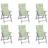vidaXL Cadeiras jardim reclináveis c/ almofadões 6 pcs acácia maciça