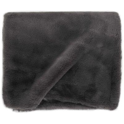 vidaXL Manta em pele de coelho artificial 100x150 cm cinza-escuro