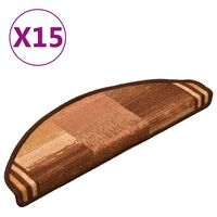 vidaXL Tapetes de escada adesivos 15 pcs 65x21x4 cm castanho