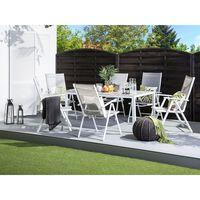 Conjunto de jardim cinza em alumínio com 6 cadeiras CATANIA