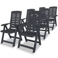 vidaXL Cadeiras de jardim reclináveis 6 pcs plástico antracite
