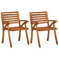 vidaXL Cadeiras de jardim 2 pcs madeira de acácia maciça