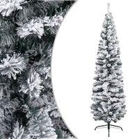 vidaXL Árvore de Natal artificial fina com neve 180 cm PVC verde