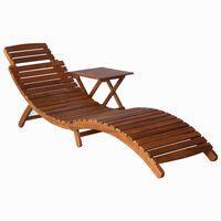 vidaXL Espreguiçadeira com mesa madeira de acácia maciça castanho