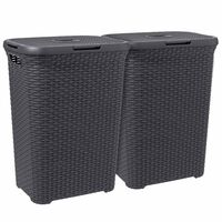Curver Conjunto de cestos p/ lavandaria 2 pcs Style 60L antracite