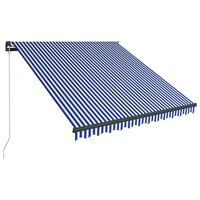 vidaXL Toldo retrátil manual com LEDs 350x250 cm azul e branco