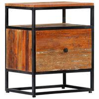 vidaXL Mesa de cabeceira 40x30x50 cm madeira recuperada maciça e aço