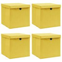 vidaXL Caixas de arrumação com tampas 4 pcs 32x32x32 cm tecido amarelo