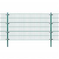 vidaXL Painel vedação c/ postes ferro revestido a pó 6x1,2 m verde