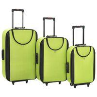 vidaXL Malas de viagem com rodas 3 pcs tecido oxford verde
