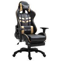 vidaXL Cadeira de gaming c/ apoio pés couro artificial dourado