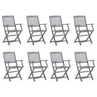 vidaXL Cadeiras de exterior dobráveis 8 pcs madeira de acácia maciça