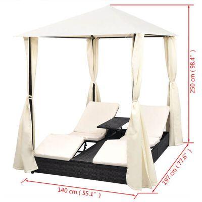 vidaXL Espreguiçadeira dupla com cortinas vime PE preto