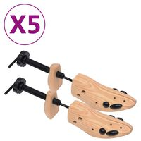 vidaXL Alargador de calçado 5 pares tam. 36-40 madeira de pinho maciça