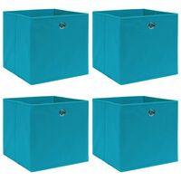 vidaXL Caixas de arrumação 4 pcs 32x32x32cm tecido azul-bebé