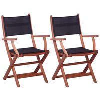 vidaXL Cadeiras exterior 2 pcs eucalipto maciço e textilene preto