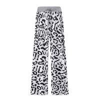 Calças macias padrão leopardo branco / preto (XXXL)