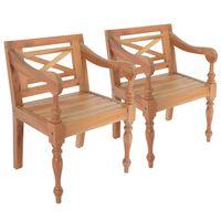 vidaXL Cadeiras Batávia 2 pcs madeira de mogno maciço castanho-claro