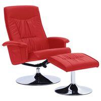 vidaXL Cadeira reclinável c/ apoio de pés couro artificial vermelho