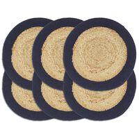 vidaXL Individuais mesa 6 pcs juta e algodão 38cm natural/azul-marinho